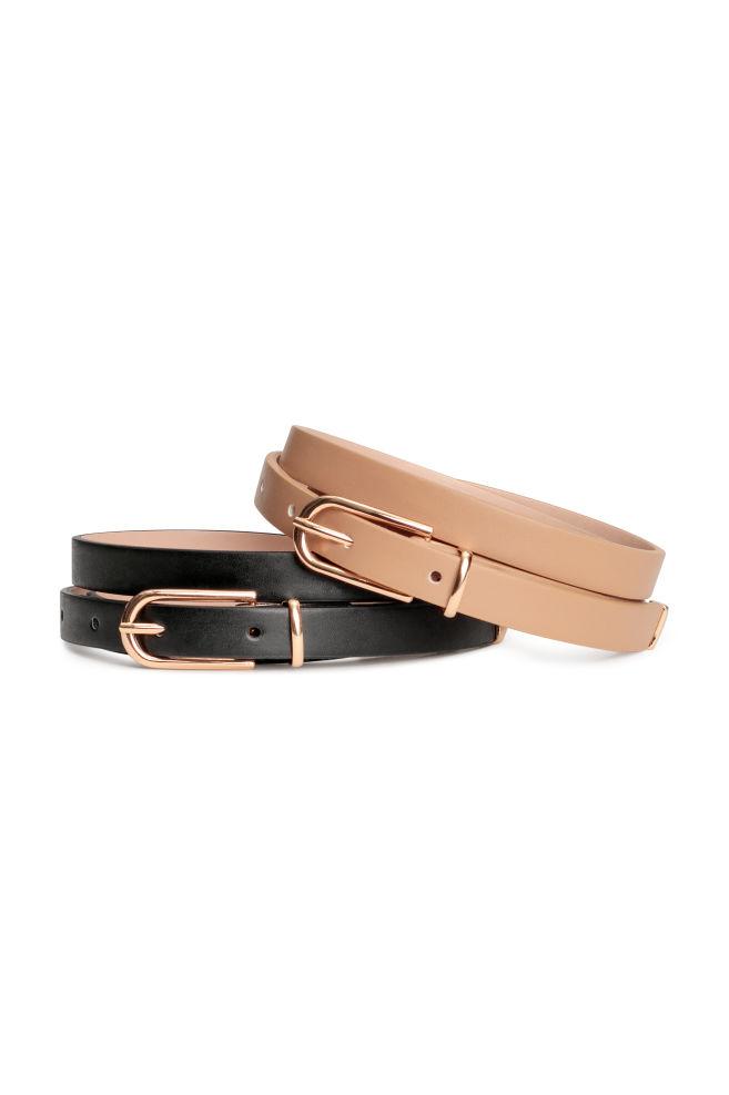 Pack de 2 cinturones - Beige/Negro - MUJER   H&M ES 1