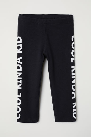 3/4-length jersey leggings - Black/Cool Kinda Kid - Kids | H&M