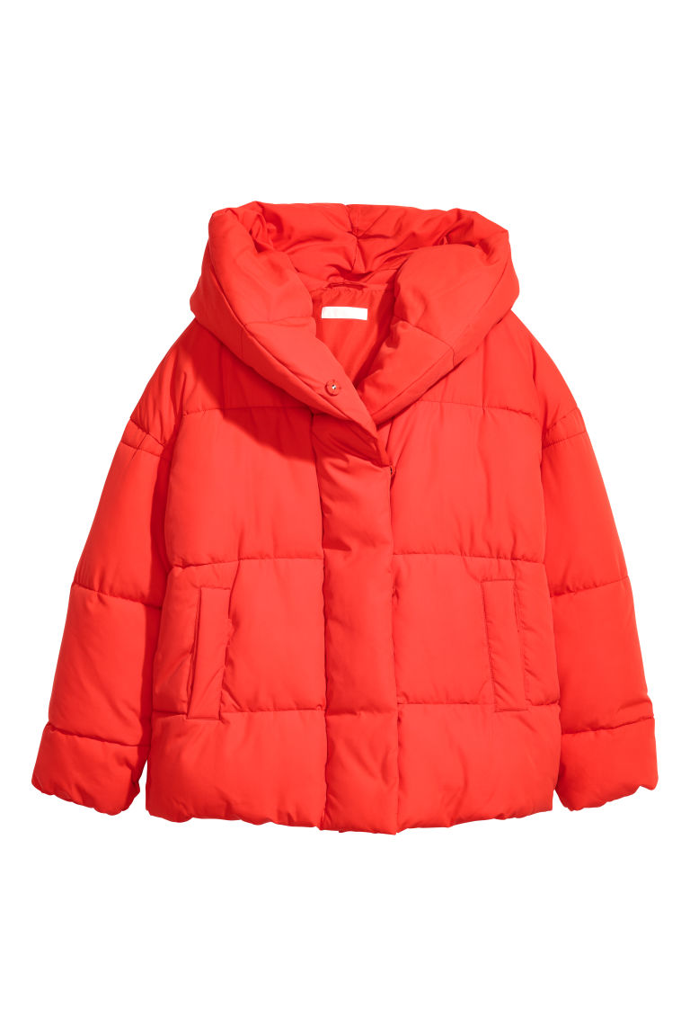 Padded jacket with a hood - Bright red - Ladies | H&M