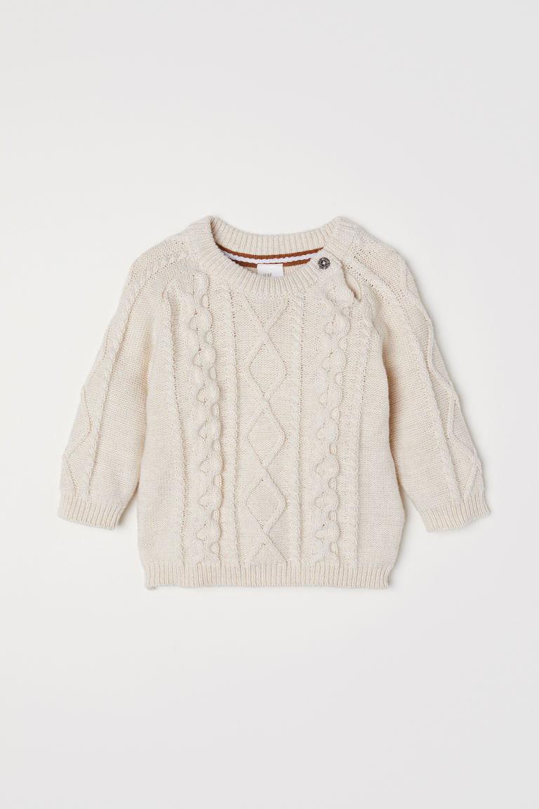 Cable-knit jumper - Natural white - Kids | H&M