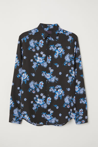Patterned lyocell shirt - Black/Flowers - Men | H&M
