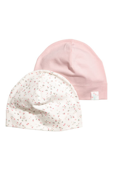 2-pack jersey hats - Light pink/Floral - Kids | H&M