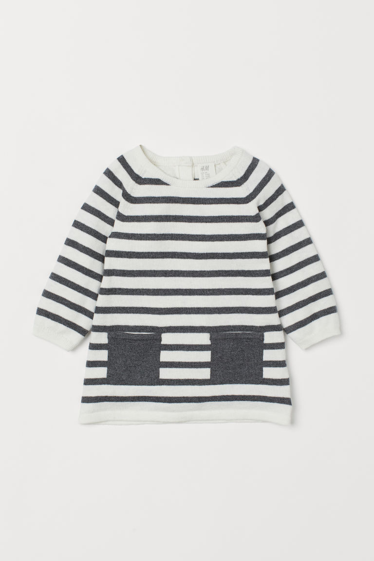 Fine-knit Dress - White/Grey striped - Kids | H&M US
