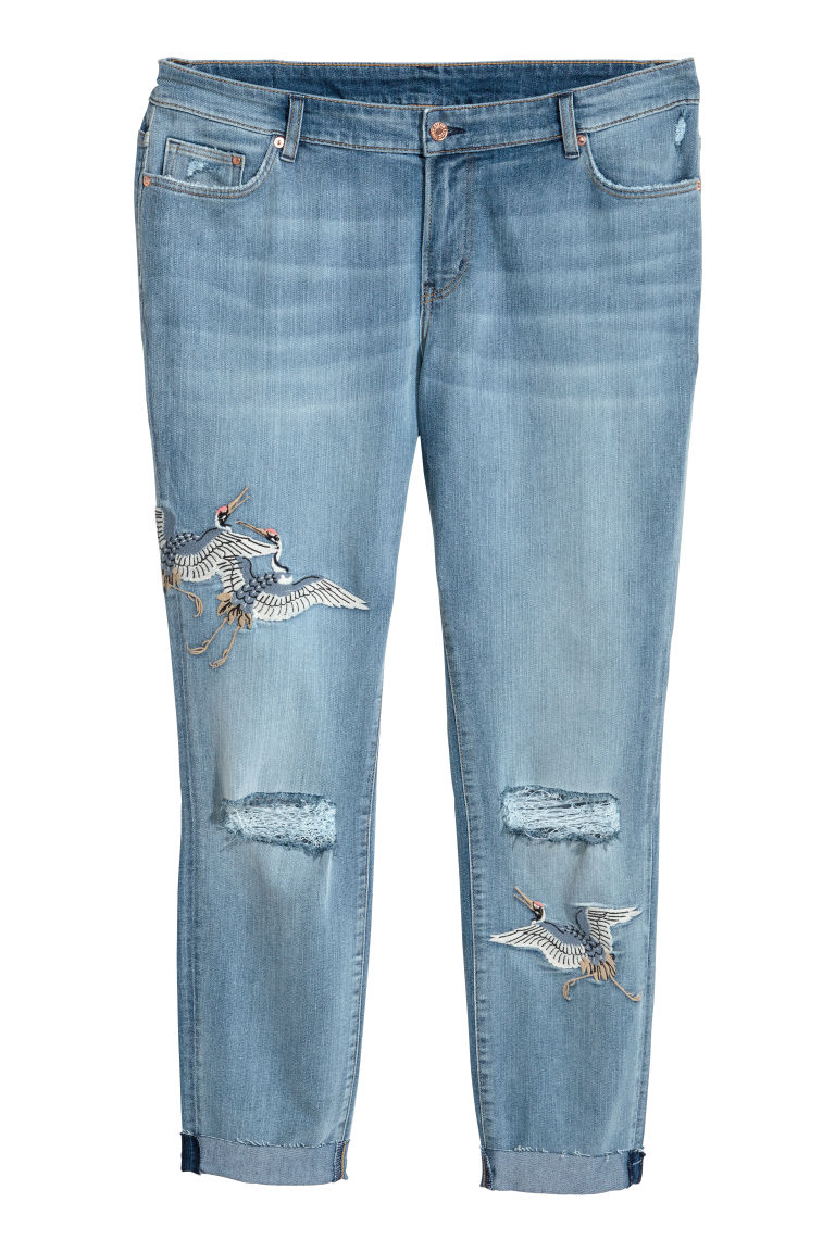 H&M+ Slim Regular Ankle Jeans - Light denim blue/Crranes - Ladies | H&M