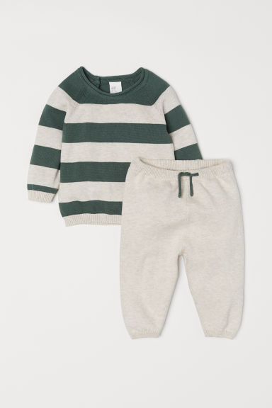 Top and trousers - Light beige/Green striped - Kids | H&M