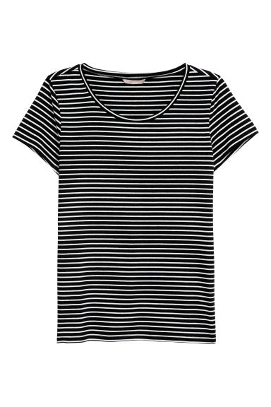 H&M+ Tricot top - Zwart/wit gestreept - DAMES | H&M BE
