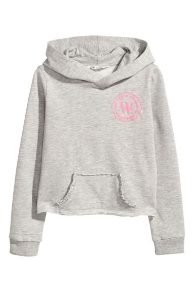 Hooded top with motif - Light grey marl - Kids | H&M