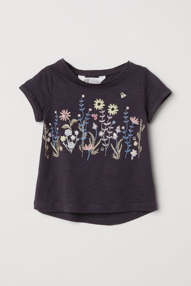 Jersey top with appliqués - Dark blue/Flowers -  | H&M