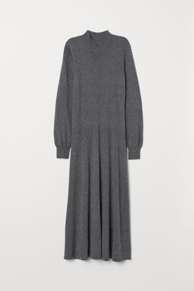 Fine-knit dress - Grey marl - Ladies | H&M
