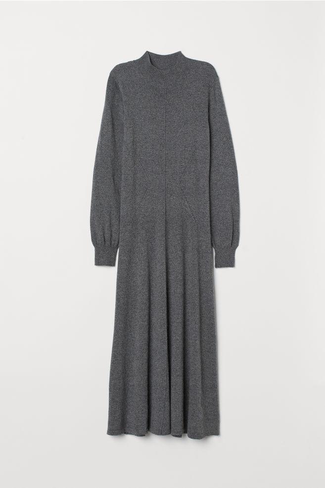 6676834cbffee6 Fijngebreide jurk - Grijs gemêleerd - DAMES