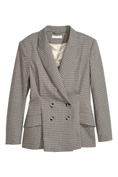 Double-breasted jacket - Beige/Dogtooth - Ladies | H&M