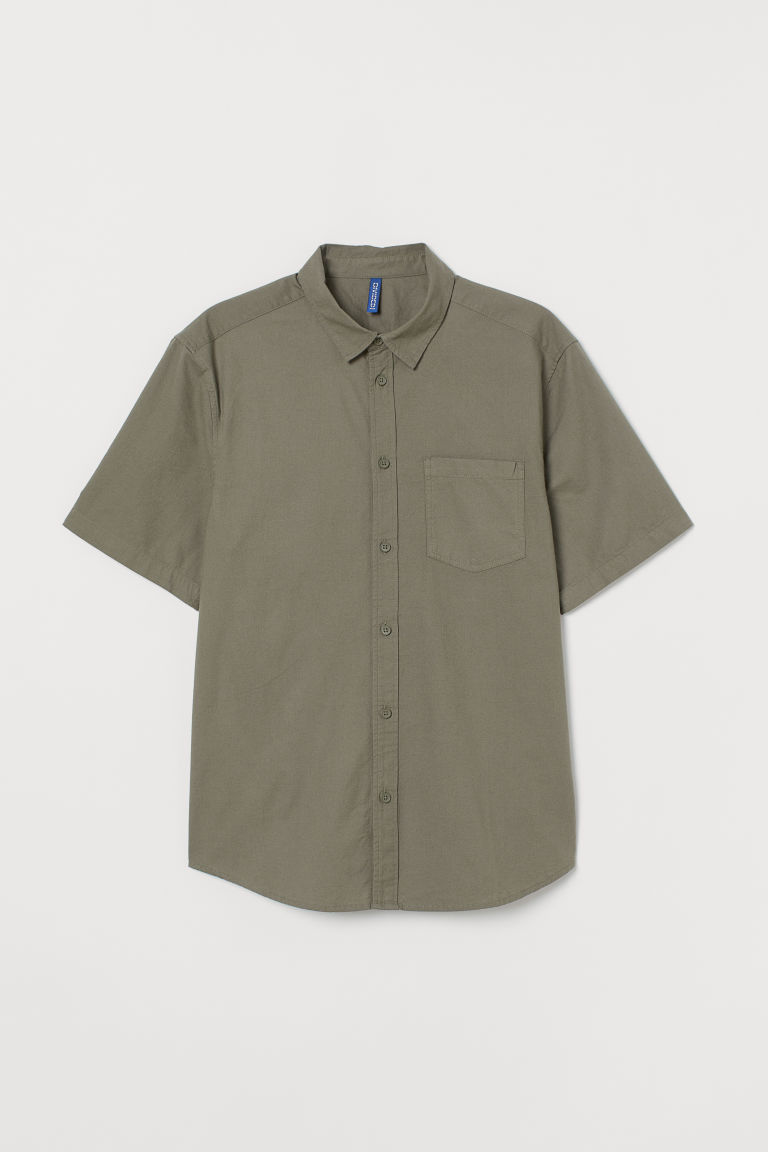 Short-sleeved cotton shirt - Khaki green -  | H&M