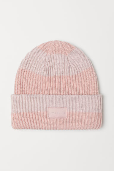 Ribbed hat - Light pink/Striped - Ladies | H&M