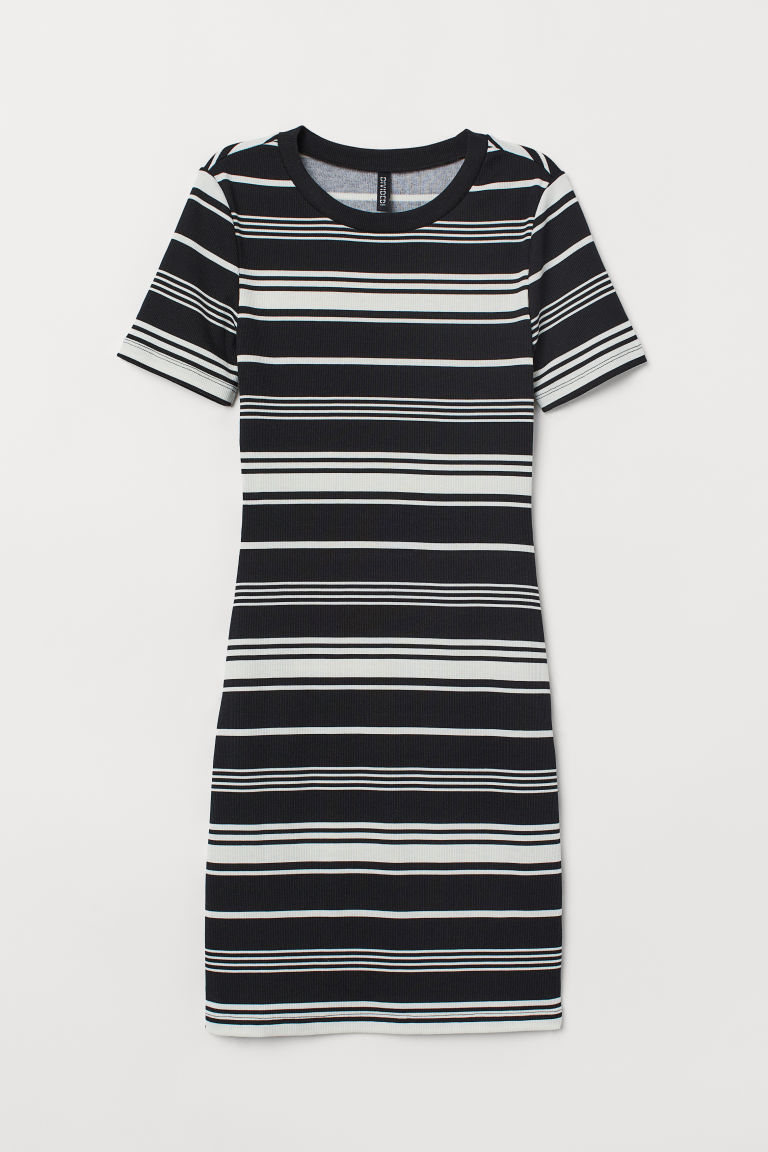 Fitted jersey dress - Black/White striped -  | H&M