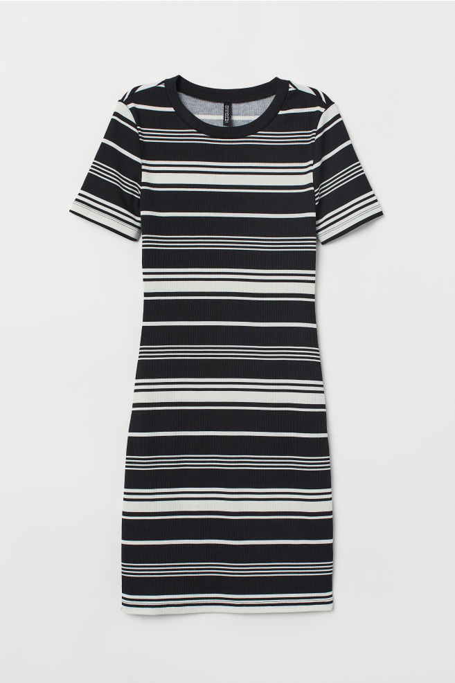 2bbdb13e754a Fitted jersey dress - Black/White striped -   H&M ...