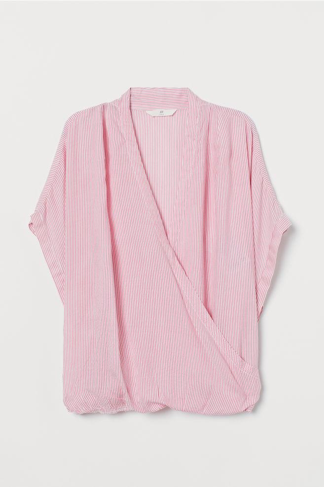 13484eadf2c8d5 ... Wrapover Blouse - Pink/white striped - Ladies | H&M ...