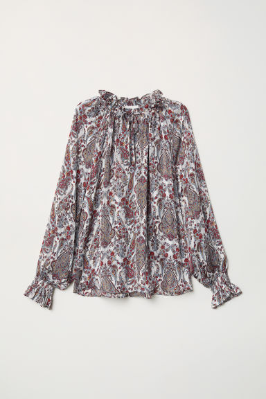 Blouse with smocking - White/Paisley-patterned - Ladies | H&M