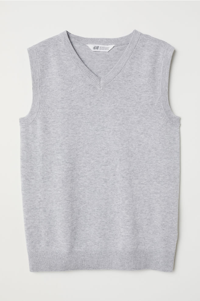 bee68f1f2ae0 Fine-knit Sweater Vest - Light gray melange - Kids