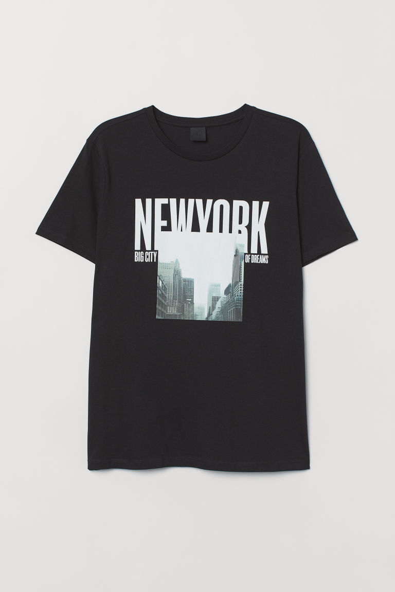 T-shirt with a motif - Black/New York - Men | H&M