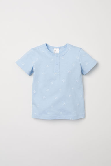 Short-sleeved Henley shirt - Light blue/Anchors - Kids | H&M CN