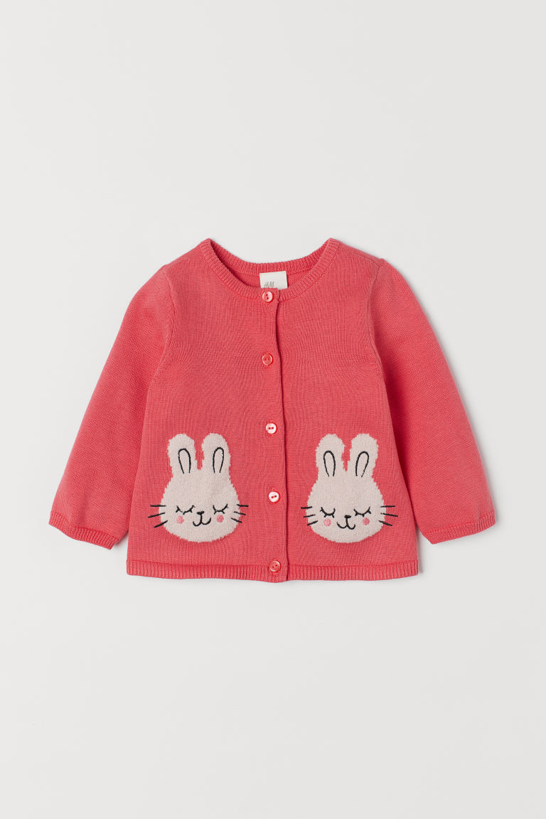 Cardigan with appliqués - Light red/Rabbits - Kids | H&M