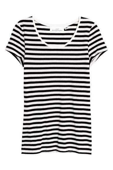 T-shirt - Black/White striped - Ladies | H&M