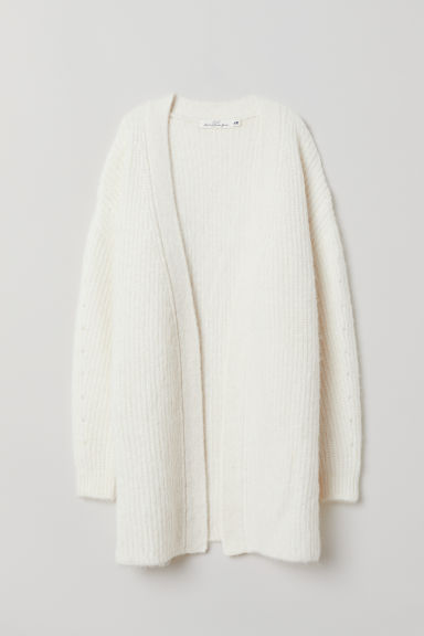 Cardigan with a tie belt - Off-white - Ladies | H&M
