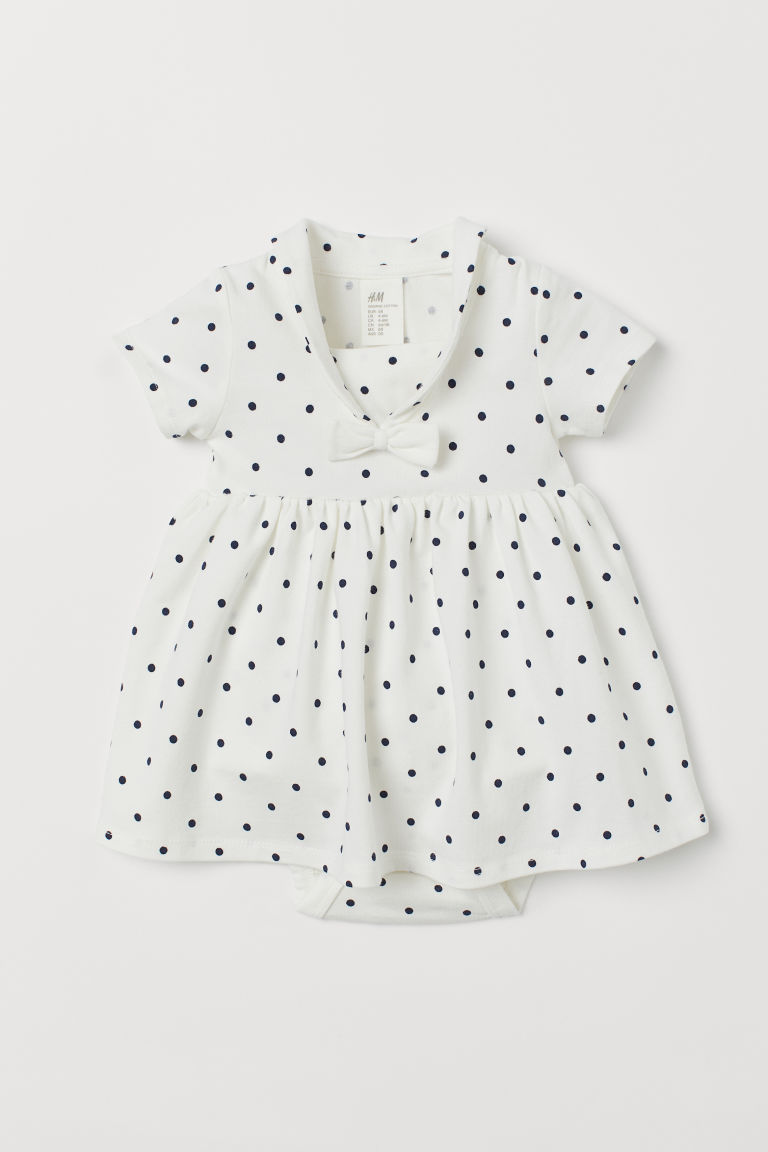 Sailor dress with a bodysuit - White/Spotted - Kids | H&M