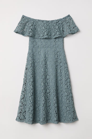 Off-the-shoulder lace dress - Dusky blue - Ladies | H&M