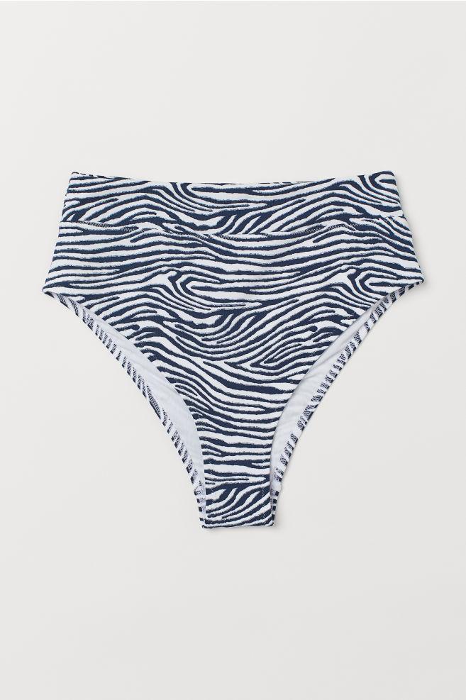75f64a082c ... Bikini Bottoms High Waist - Dark blue/zebra print - Ladies | H&M ...