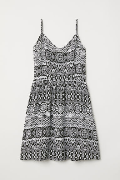 Short dress - Black/White patterned - Ladies | H&M CN