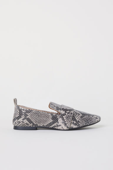 Leather loafers - Grey/Snakeskin-patterned - Ladies | H&M CN