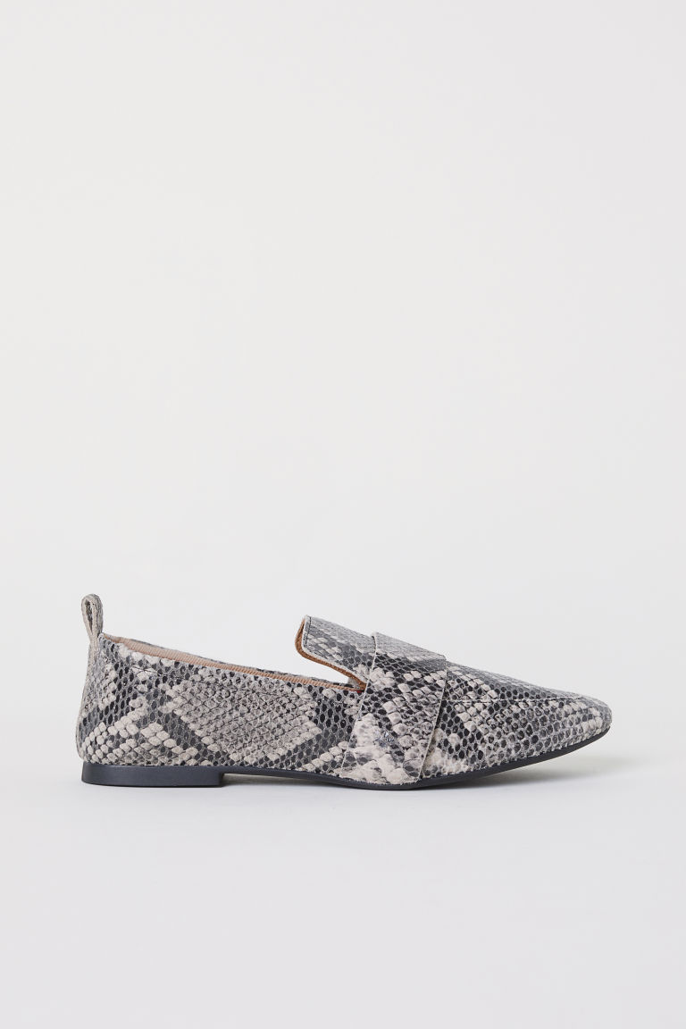 Leather Loafers - Gray/snakeskin-patterned - Ladies | H&M CA