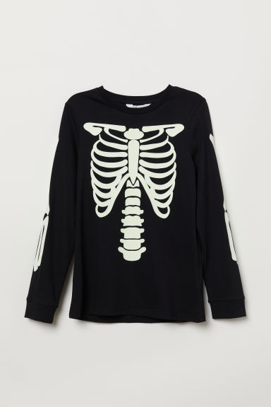 Jersey top with a print motif - Black/Skeleton - Kids | H&M CN