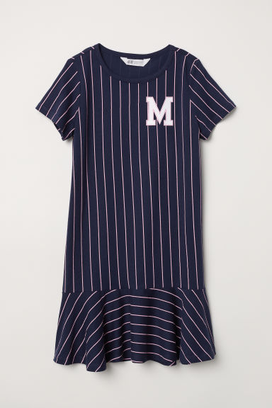 Jersey dress - Dark blue/Pink striped -  | H&M