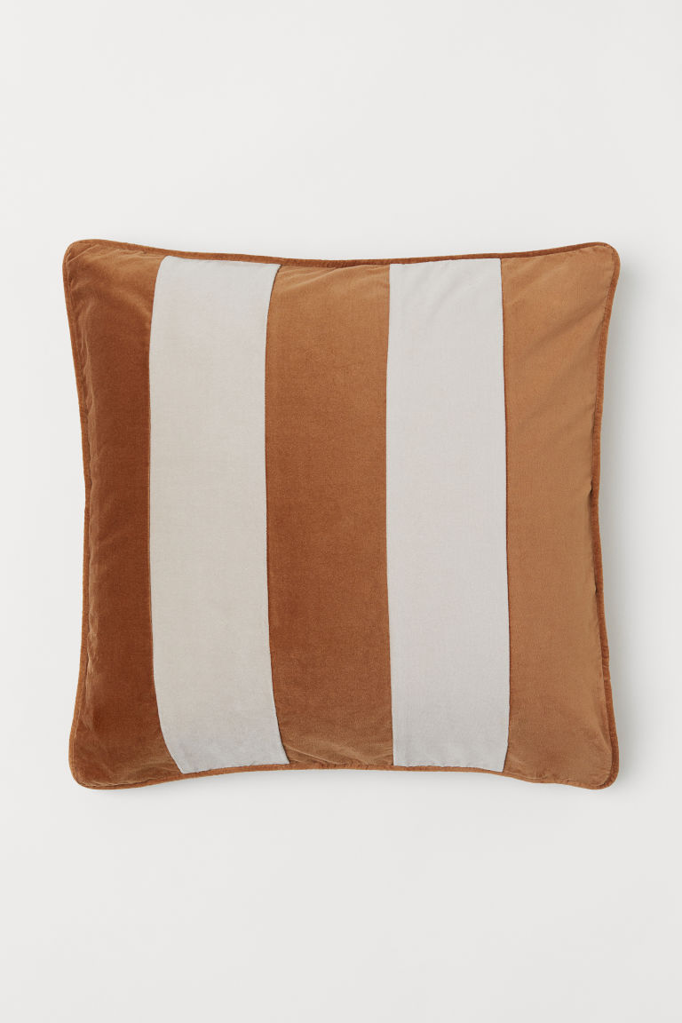 Velvet cushion cover - Brown/Beige striped - Home All | H&M GB
