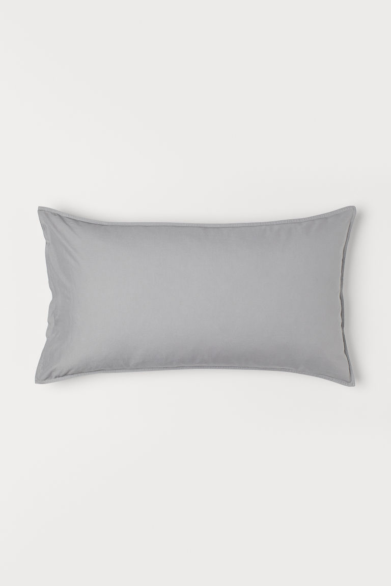 Washed cotton pillowcase - Grey - Home All | H&M GB
