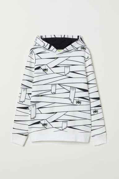 Printed hooded top - White/Mummy -  | H&M