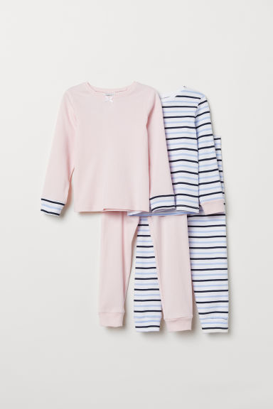 2-pack jersey pyjamas - White/Striped - Kids | H&M