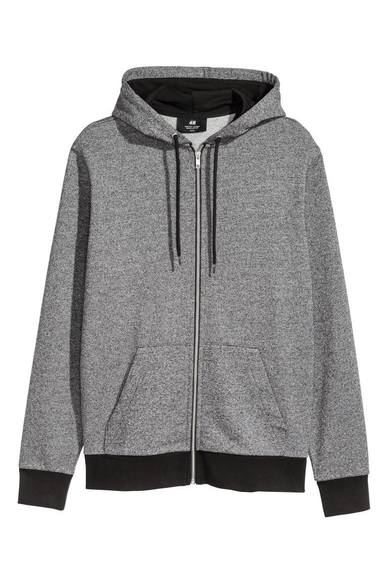 Hooded jacket Regular fit - Grey marl/Black - Men | H&M