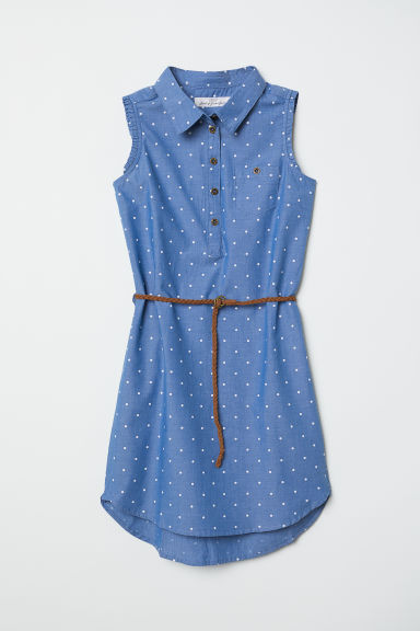Cotton shirt dress - Blue/Spotted - Kids | H&M CN