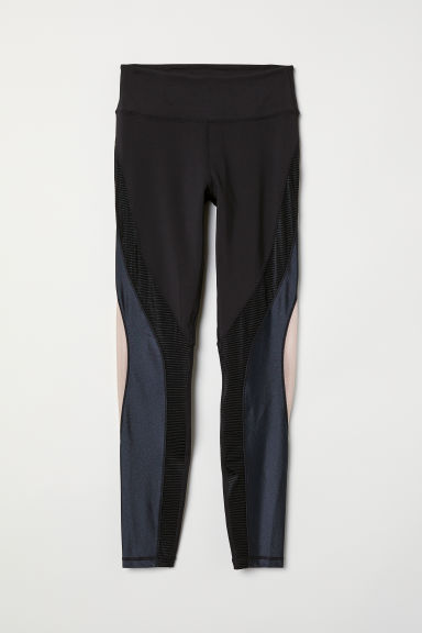 Leggings sport Shaping waist - Nero/color block - DONNA | H&M IT