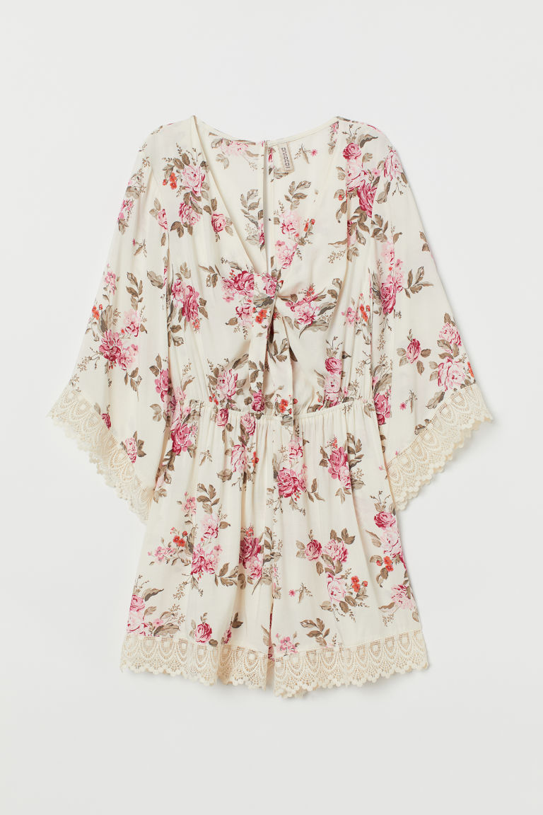 Playsuit med blonde - Naturhvit/Roser - DAME | H&M NO