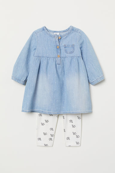Dress and leggings - Light denim blue/Spotted - Kids | H&M