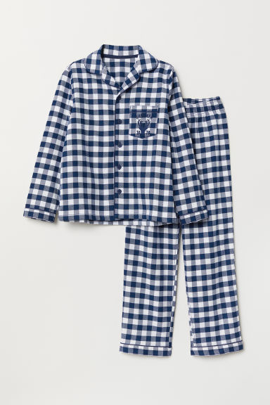 Flannel pyjamas - Dark blue/White - Kids | H&M