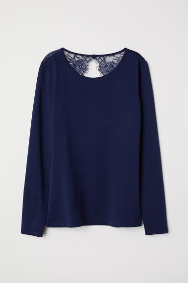 Jersey top with lace - Dark blue - Ladies | H&M CN