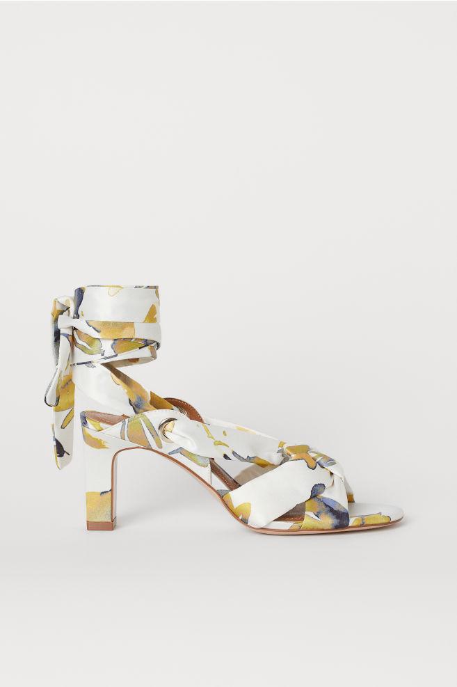 Sandali in satin - Bianco/fiori - DONNA | H&M IT 1
