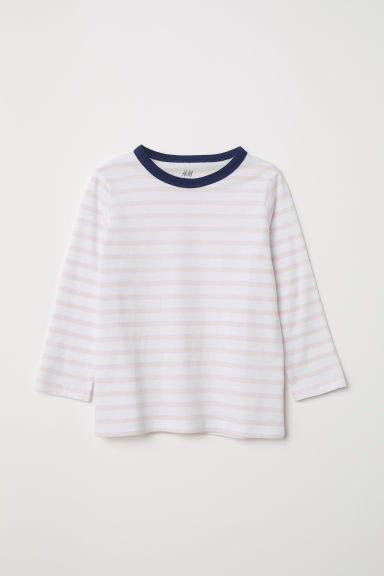 Striped jersey top - Light pink/Striped - Kids | H&M CN
