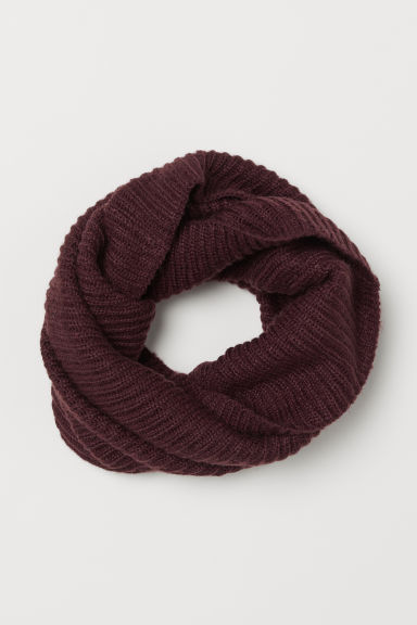 Ribbed tube scarf - Burgundy - Ladies | H&M