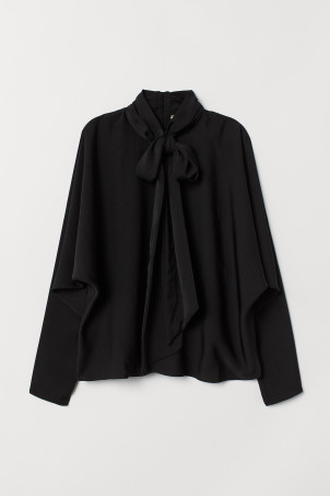 Tie-detail satin blouse